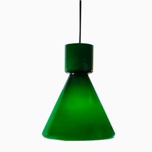German Green Glass Pendant Light from Limburg, 1970s