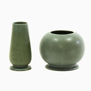 Plano Stoneware Vases by Gunnar Nylund for Rörstrand, Set of 2