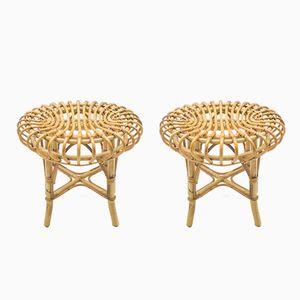 Mid-Century Bamboo Stools, Set of 2