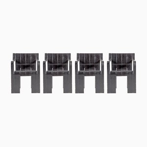 Black Strip Chairs by Gijs Bakker for Castelijn, 1974, Set of 4