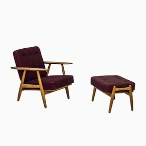 GE-240/3 Cigar Easy Chair with Ottoman by Hans J. Wegner for Getama, 1950s