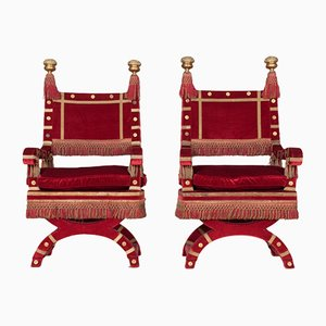 Red Velvet Throne Chairs, 1940s, Set of 2