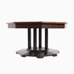 Art Deco Dutch Macassar Ebony Center Table from 't Woonhuys, 1930s