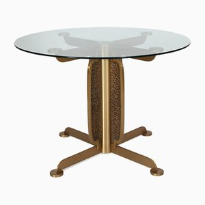 Brass Cast Dining Table with Glass Top by Luciano Frigerio, 1970s