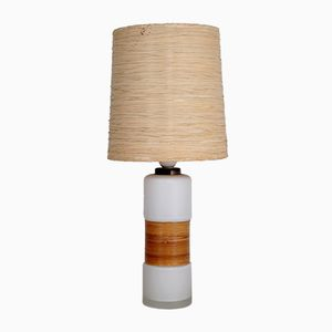 Small Finnish White Opal Glass and Straw Table Lamp, 1950s