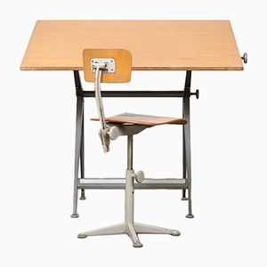 Drafting Table & Chair by Friso Kramer & Wim Rietveld for Ahrend de Cirkel, 1963