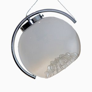 Frosted Glass Moon Pendant Light from Mazzega, 1970s