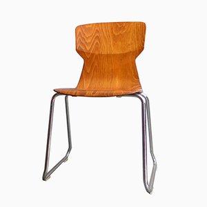 Stuhl aus geformtem Schichtholz und Chrom von Casala, 1970er