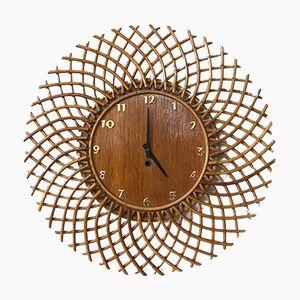 Uhr in Sonnenform aus Rattan, 1960er