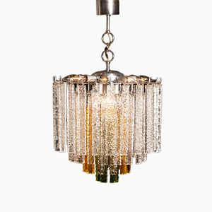 Murano Tri-Color Glass Chandelier from Venini, 1960s