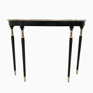 Lacquered Wood & Carrara Marble Console, 1950s