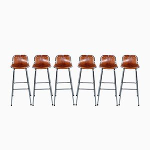 Leather Bar Stools by Charlotte Perriand, 1960s, Set of 6