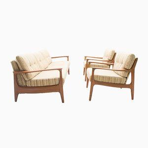 Teak Sofa with 2 Armchairs Set by Eugen Schmidt for Soloform, 1960s