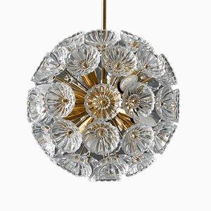 Sputnik Messing & Glas Blumen Deckenlampe, 1960er