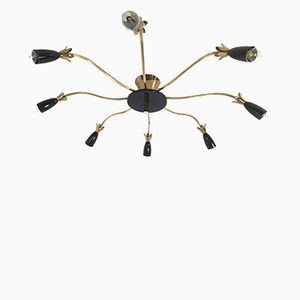Black & Gold Spider Ceiling Lamp, 1960s