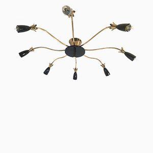Spinnen Deckenlampe in Schwarz & Gold, 1960er