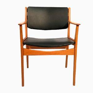 Eichenholz Armlehnstuhl mit schwarzem Kunstleder, 1960er