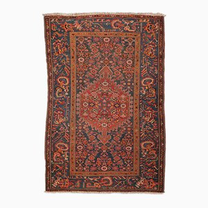 Wool Melayir Rug in Orange, Red, and Green over Blue Background, 1900s
