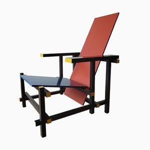Stuhl in rot und blau von Gerrit Rietveld für Cassina, 1970er