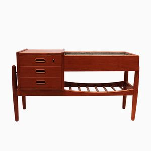 Small Teak Sideboard with Metal Drawer by Arne Vodder, 1960s