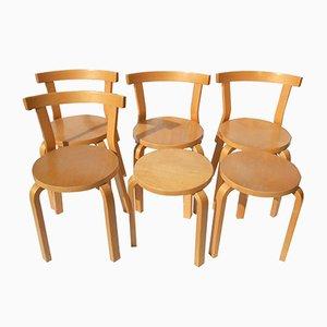 Modell 68 Esszimmerstühle & Hocker von Alvar Aalto für Artek, 1970er, 6er Set