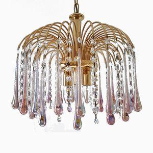 Vergoldeter Murano Glas & Kristallglas Kronleuchter von Paolo Venini für S.A.L.I.R. Murano, 1970er