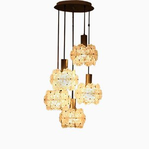 Floral Glass Cascading Chandelier with 5 Lights, 1950s