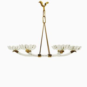 6-Arm Murano Glass and Brass Chandelier, 1940s