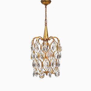 Lampe à Suspension Cage à Oiseaux Vintage Dorée