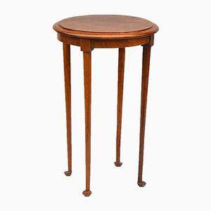 Oak Pedestal Table on Rounded Feet, 1950s
