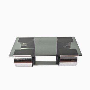 Kappa Coffee Table in Stainless Steel with Smoked Glass by Monnet for Domustil, 1970s