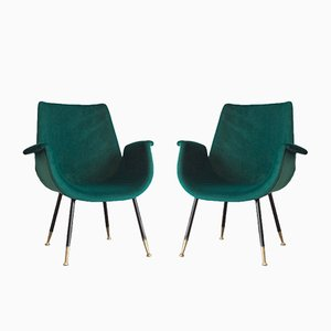 Vintage Italian Velvet Armchairs, 1950s, Set of 2