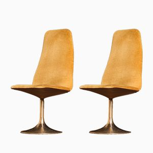 Brass and Golden Velours Swivel Chairs by Johanson Design for Markaryd, 1970s, Set of 2