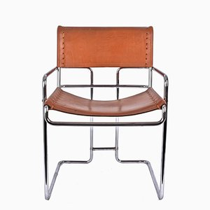 Italian Leather and Chromed Steel Chair by Guido Faleschini for i 4 Mariani, 1970s
