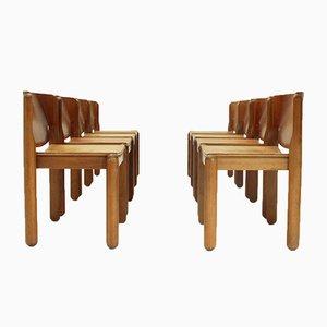 Chaises de Salon Modèle 122 avec Assises en Cuir par Vico Magistretti pour Cassina, 1960s, Set de 8