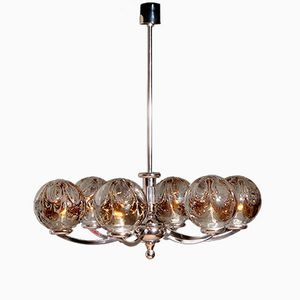 Chrome Chandelier with Mazzenga Crystal Globes from Kaiser Leuchten, 1960s