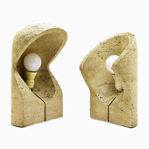 Vintage Travertine Table Lamps, 1960s, Set of 2