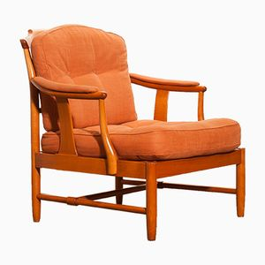 Beech & Linen Easy Chair, 1960s
