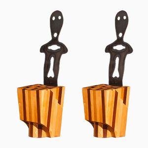 Große Vintage Holz & Metall Stühle, 2er Set