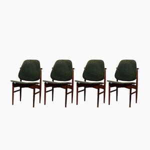 Teak und Samt Esszimmerstühle von Arne Vodder für France & Daverkosen, 1950er, 4er Set