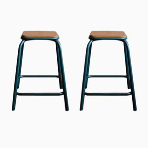 Vintage Industrial French Stools, 1960s, Set of 2