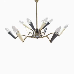 Mid-Century Black and White Chandelier with Brass Frame