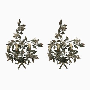 Vintage Wrought Iron Appliques with Crystal Flowers, Set of 2