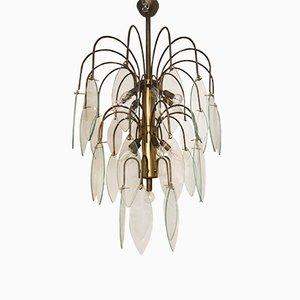 Lampe à Suspension en Bronze & Verre, 1950s