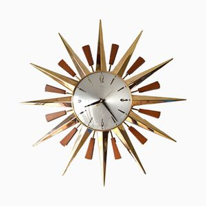Mid-Century Sunburst Wall Clock from Metamec