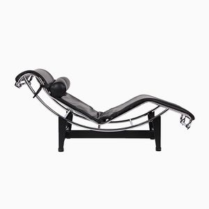 Vintage Model LC4 Black Leather Lounge Chair by Le Corbusier for Cassina