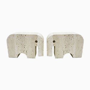 Travertine Elephant Bookends by Fratelli Mannelli, 1970s, Set of 2