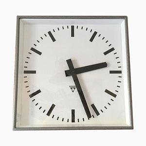 Reloj de pared cuadrado grande de Pragotron, años 60