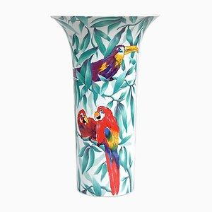 Vase en Porcelaines avec Perroquets de AK Kaiser, 1970s