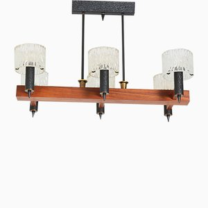 Mid-Century Modern Chandelier by Carl Fagerlund for Orrefors Sweden, 1950s
